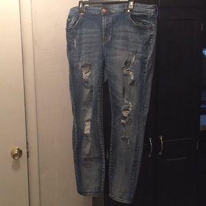 Refuge Size 20 distressed stretch skinny jeans